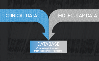 graphic showing clinical and molecular data feeding into database